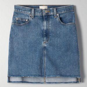 Aritzia Wilfred Free Cut Off Denim Skirt